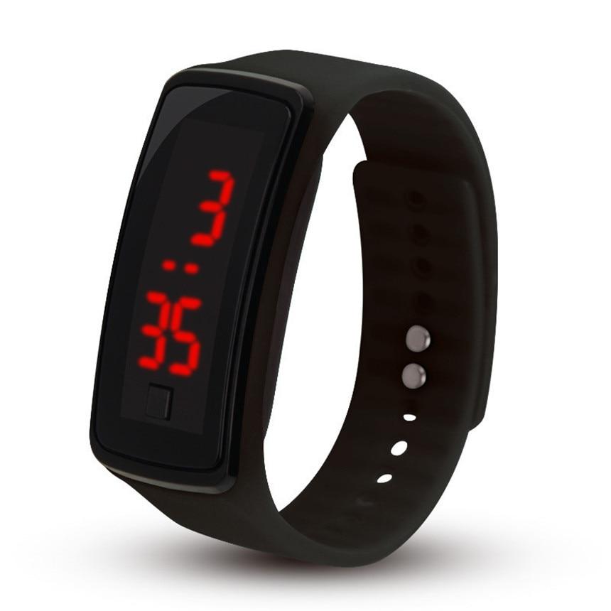 Fashion Outdoor Men Women  Sports LED Watches Bracelet  Electronic Digital Candy Color Silicone Wrist Watch Montre Femme D20