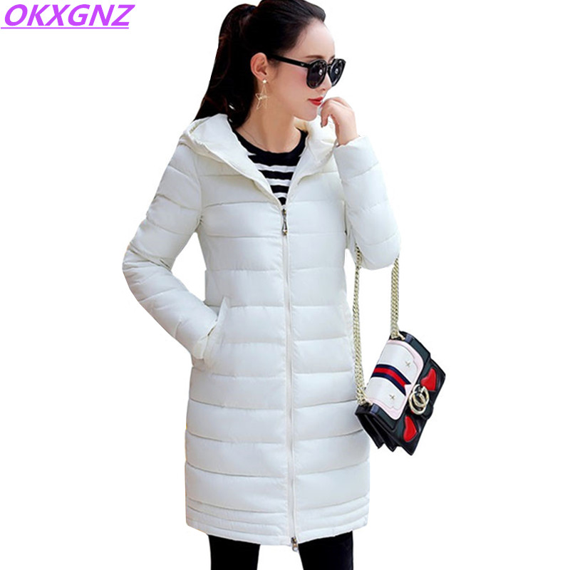 Autumn Winter Women Cotton Jacket Medium Length Coats Fashion Solid Color Parkas Hooded Thicker Plus Size