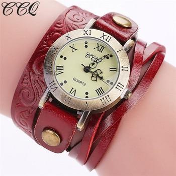 Ccq 브랜드 패션 빈티지 암소 가죽 팔찌 시계 캐주얼 여성 손목 시계 럭셔리 쿼츠 시계 relogio feminino 선물 c113
