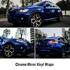Dark Blue High Stretchable Chrome Mirror Vinyl Roll Good Glue 5ft X 65ft Roll Any Size