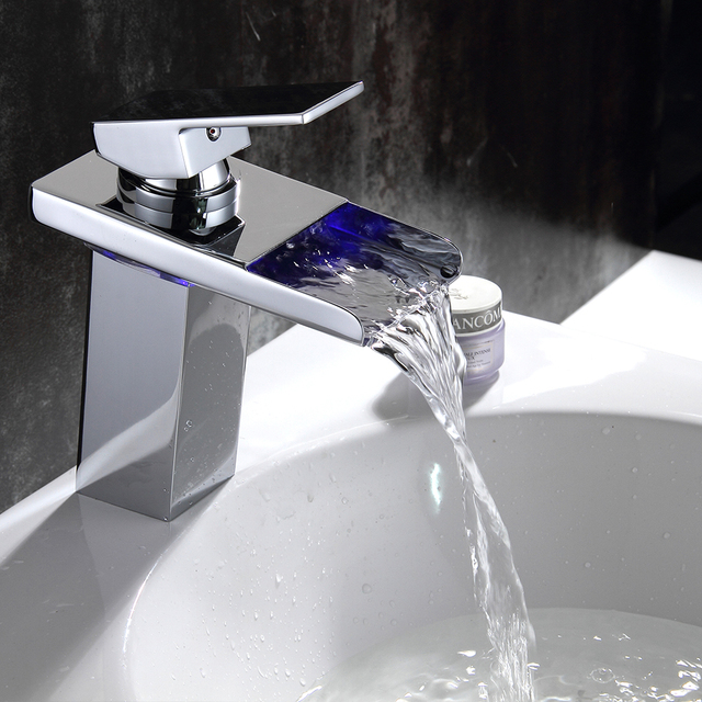 Temperature Sensitive Polished Chrome Finish Bathroom Faucet Nickel Brush  Shower Pull Out Basin Faucet Vanity Sink