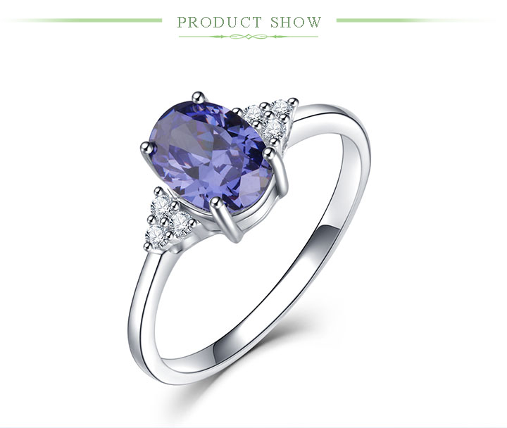 HTB1jk.BN3HqK1RjSZJnq6zNLpXaI Kuololit Solid 925 Sterling Silver Rings For Women Created Tanzanite Gemstone Ring Wedding Engagement Band Fine Jewelry New