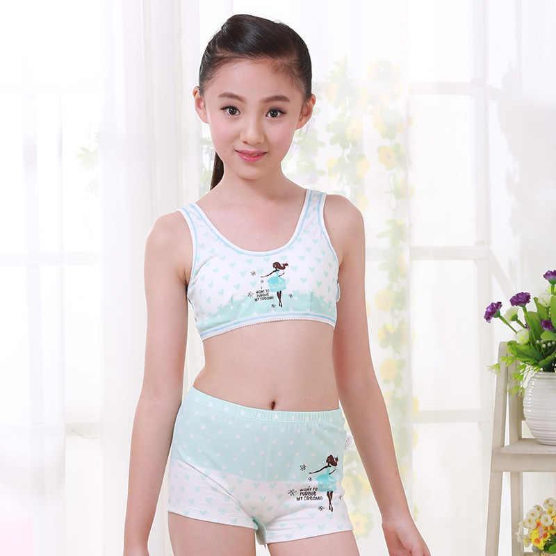 21a66ce99 ... Girls Cosy Undies Puberty Children Teenagers Student Sport Set Pretty  Girl Cotton Underwear Set Training Bras ...