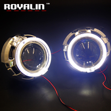 ROYALIN Full Metal LED Bi Xenon Angel Eyes Projector Car DRL H1 H4 H7 Headlights Apollo Lamp Daytime Running Lights Retrofit