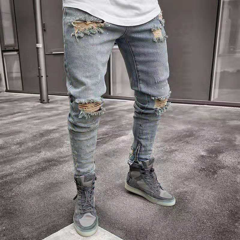 Men Jeans Stylish Ripped Jeans Pants Biker Skinny Slim Straight Frayed Denim Trousers 2019 Fashion Skinny Jeans Men Clothes AB07