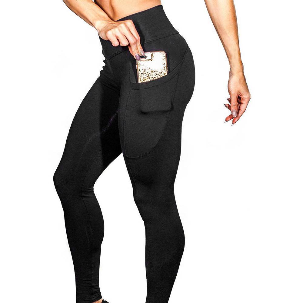 Women's Solid Workout   Leggings   High Elastic Waist Workout Fitness   Legging   For Woman Skinny Pockets Ladies Pencil Pants Leginsy