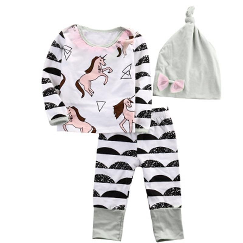 Baby Girls Clothing Set Spring Autumn Newborn Girl Clothes Long Sleeve Pegasus Geometric Print T Shirt +Pant + Hat 3 Pieces Suit