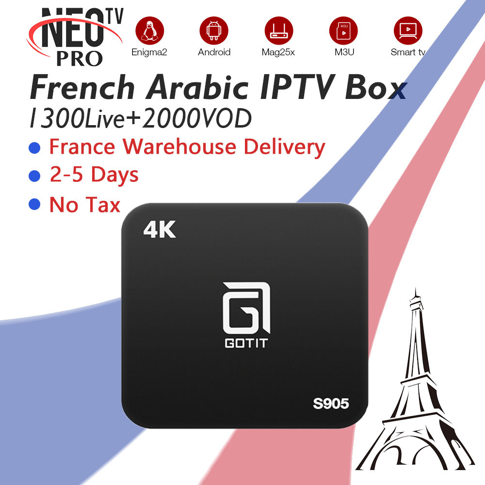 Gotit S905 Android Smart TV Box 7.1 With French Arabic Belgium IPTV Subscription 1300 Live +vod 4K H.265 Free Ship From France twip gotit 53