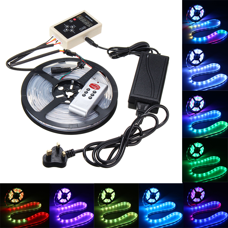 Smuxi Waterproof 5M 6803 IC 150 LED RGB LED Strip Light 12 DC 5050 SMD Dream Color FR Remote Controller UK/AU/EU/US Plug
