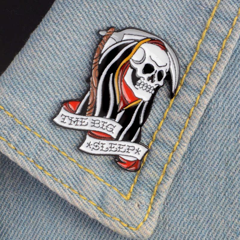 Oscuro malvado broche de esqueleto capa de la muerte fantasma el sueño cráneo esmalte Pin Denim camisa abrigo Punk insignia joyería de fiesta de Halloween