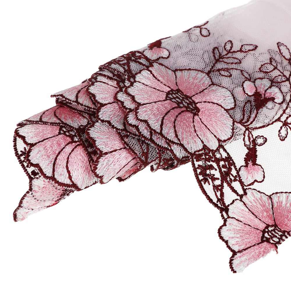 1yard Morning Glory Lace Edge Trim Embroidered Wedding Applique DIY Craft Doll Dress Sewing Fabric