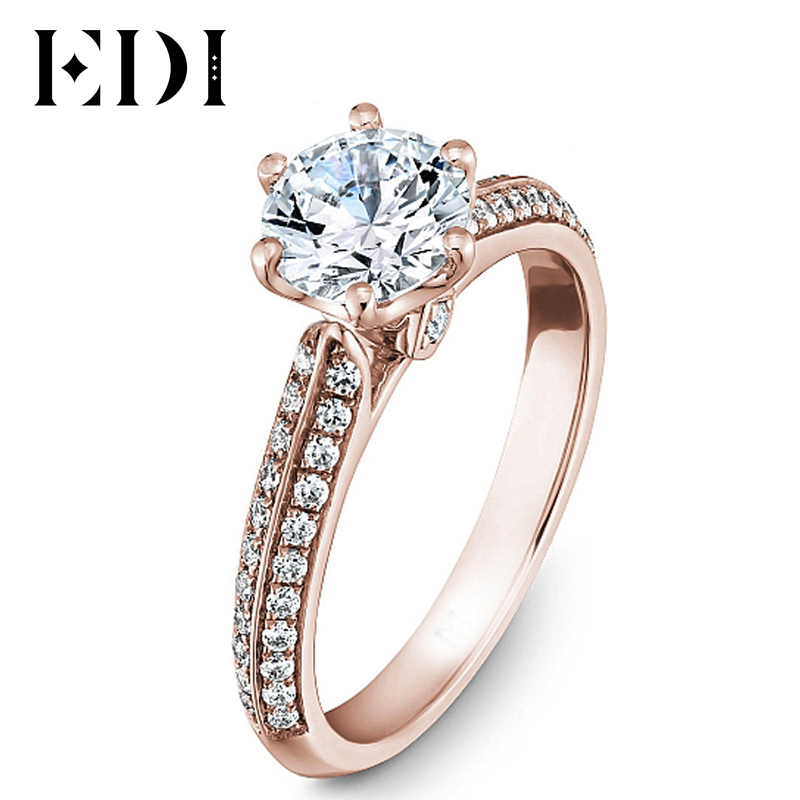 EDI Luxuriant 14k 585 Rose Gold Lab Grown Diamond Engagement Ring 1CT Forever Classic Moissanites Wedding Jewelry For Women Gift helon solid 18k 750 rose gold 0 1ct f color lab grown moissanite diamond bracelet test positive for women trendy style jewelry