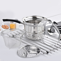 Multifunctional Soup Steaming Pot Stainless Steel Nonmagnetic Cooking Chip frying Pan with Fryer Basket and Lid Non stick Pan