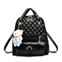 Fashion Designer Plaid Bear Free Pendant Women Backpack PU Leather Shoulder Bags Purse Teenage Girls School Bag Backpack Female female fashion black pu leather backpack with little bear doll pink plaid backpacks for adolescent girls women casual small bag