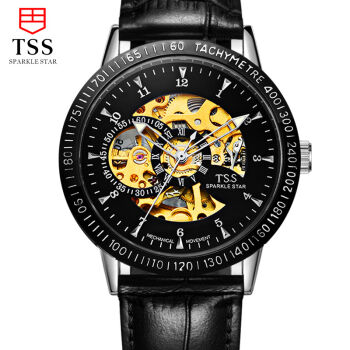 TSS men leather mechanical watch waterproof watches for men Luminous display Famous Brand Men Business Watch