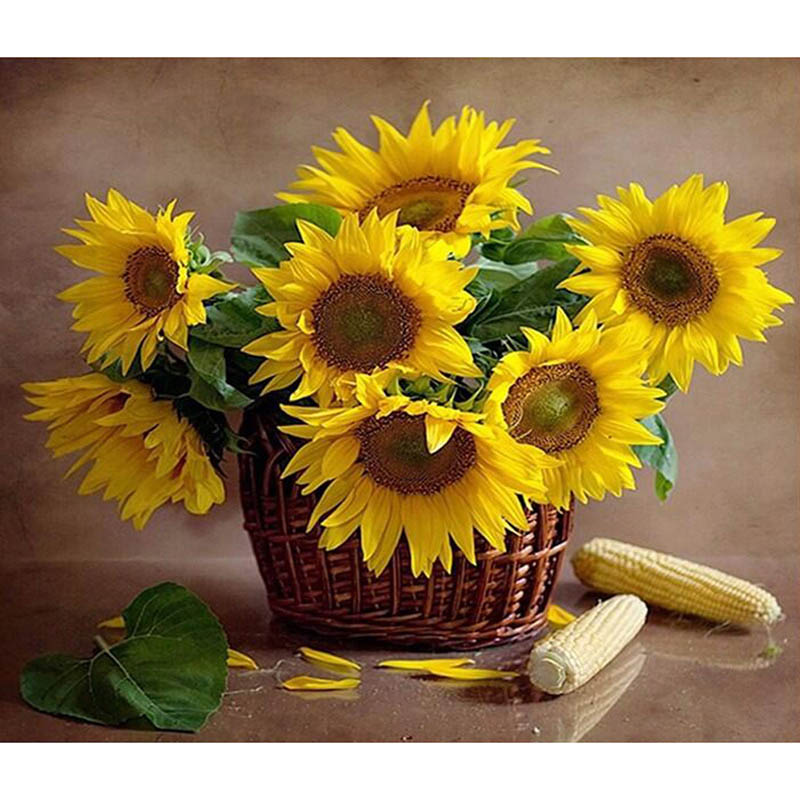 Yellow Sunflower Diamond Painting Flower Picture Resin Round Embroidery Cross Stitch Mosaic Decorative