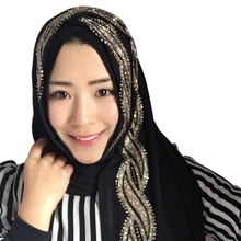 Mulheres Hijabs Muçulmanos Coloridos Franja Dourada Bordado Floral Tampas Hijab  Islâmico Cobertura Completa Cachecol Chapéus Hij. b119b58b506