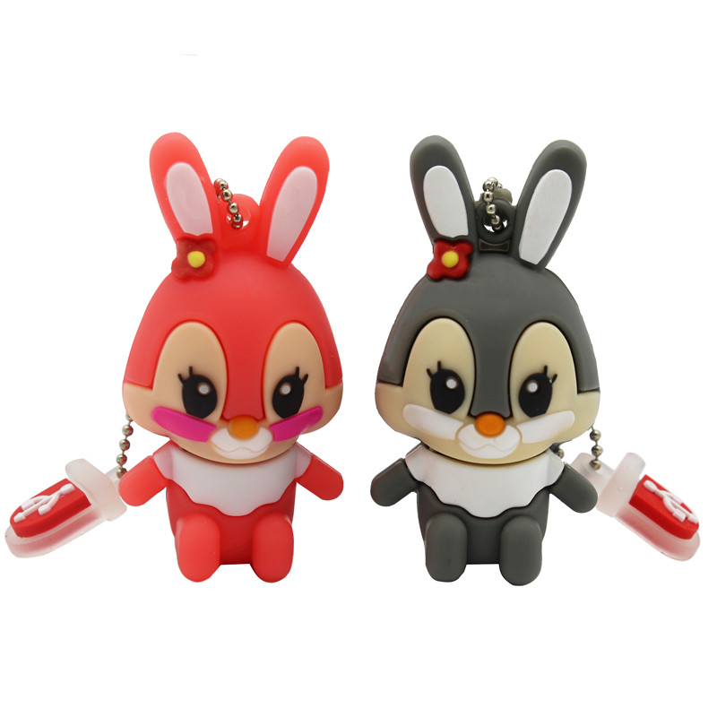 BiNFUL Usb Flash Drive Pen Drive Pink Memory Stick Gray Rabbit 8GB 16GB Pendrive