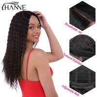 HANNE Hair Malaysian Afro Kinky Curly Wig Black Remy Hair Pre Plucked Bleached Knots Lace Front Human Hair Wigs For Black Women