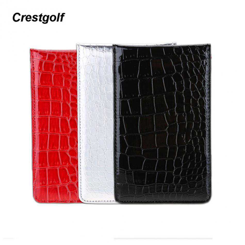 CRESTGOLF Golf Scorecard Holder Pu Leather Yardage Book Golf Score Wallet Golf Score Card Pocketbook Golf Gift Accessories