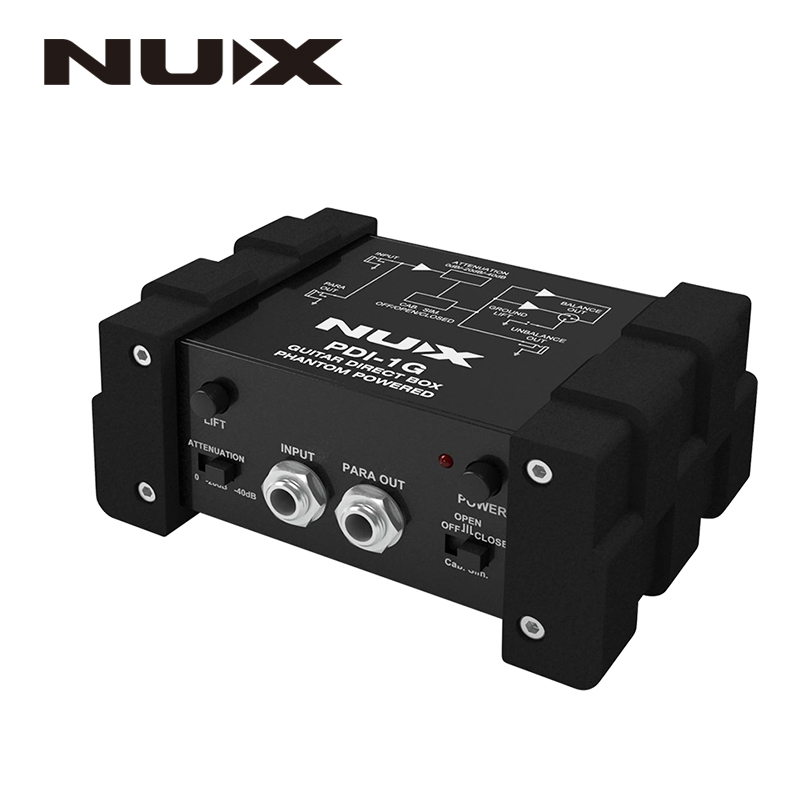 NUX PDI-1G Guitar Direct Box Guitar Direct Injection Phantom Power Box Audio Mixer Para Out Compact Design Metal Housing eden wtdi direct box preamp
