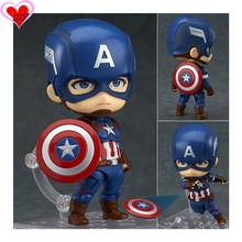The Avengers Captain America Civil War 618# face changeable Nendoroid Anime action figure toy Collectibles Model super heroes