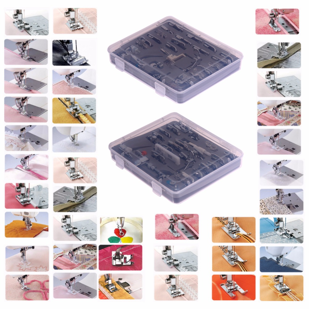 52pcs Domestic Sewing Machine Braiding Blind Stitch Darning Presser Foot Feet Kit Set With Box Snap On For Brother Singer Set