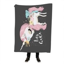 Unicorn and Rose Sherpa Blanket Girly Floral Bedspread Pink Blue Green Velvet Plush Cartoon Beds Mantas
