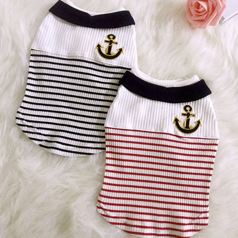 Pet Dog Vests Navy Stripe Cotton Puppy T Shirts Sailor Anchor Striped Summer Casual Clothes Teddy Chihuahua