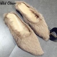 2016 Mùa Đông thiết kế mới nhất đen da lông thú dép đi trong nhà ấm mùa đông phụ nữ của lông lót Dép flats giày da giày miễn phí vận chuyển