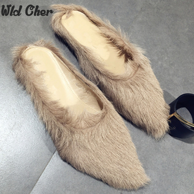 2016 Winter latest design black leather furs slippers warm winter women's fur lined Slipper flats shoe loafers free shipping