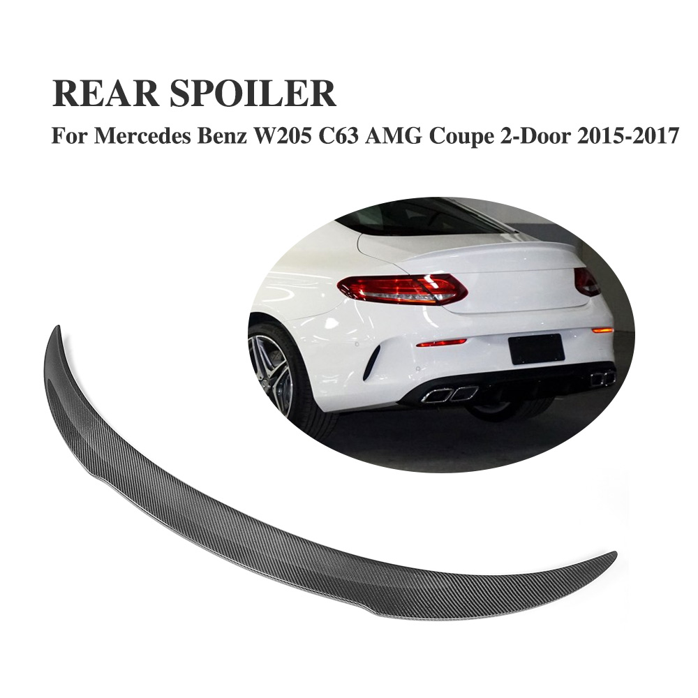 Carbon Fiber Rear Trunk Lip Spoiler Wings for Mercedes Benz C Class C205 C63 AMG Coupe 2-Door 2015-2017 F Style Car Accessories цена