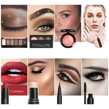 FOCALLURE 8 PCS Makup Tool Kit Must Glitter Eyeshadow Matte Lipstick Blush Mascara With Makeup Bag Cosmetic Set Beauty and Health Makeup and Sets