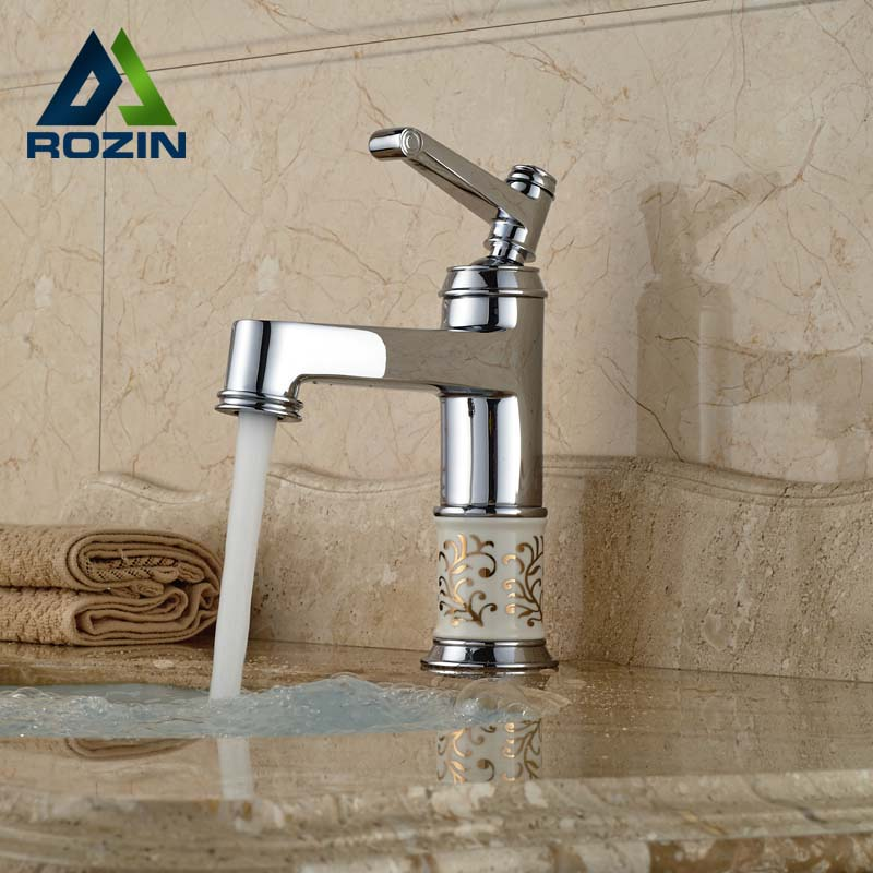 ФОТО Polished Chrome Single Hole Brass Basin Vanity Sink Mixer Taps Deck Mount Hot Cold Water Faucet