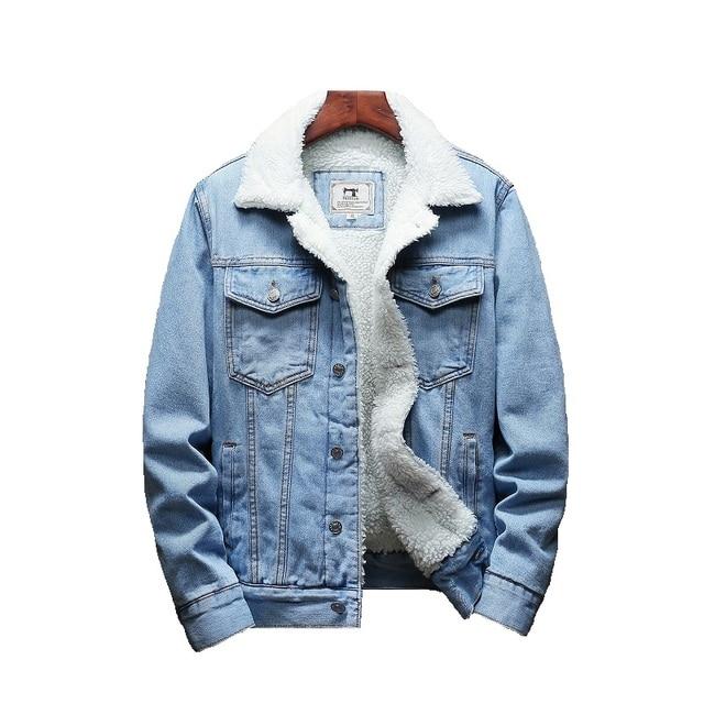 Light Blue Winter Jean Jackets Outerwear Warm Denim Coats Large Size Wool Liner Thicker Winter Denim Jackets Size6XL 5