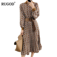 RUGOD 2018 New Autumn Winter Dress Women Long Sleeve Tunic Christmas Plaid Dress Female Casual Dresses Plus Size Vestidos Mujer