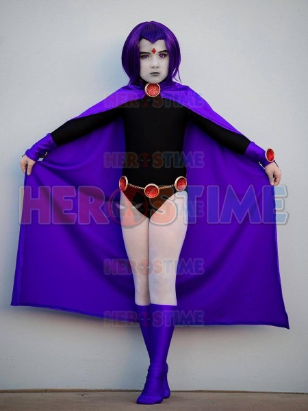 Raven Cosplay Costume Comics Superhero Costume Spandex Cosplay Costume Raven Halloween Zentai Catsuit with Cape