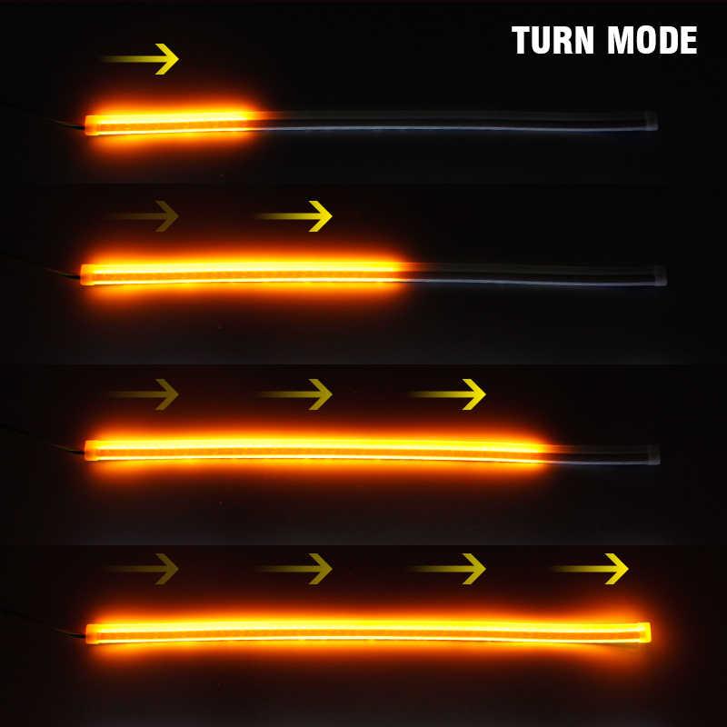 OKEEN Ultrafine DRL 30 45 60 ซม.ไฟวิ่งกลางวันคู่มือหลอดไฟแบบยืดหยุ่นอ่อนรถ LED Strip เลี้ยวสัญญาณสีเหลืองกันน้ำ