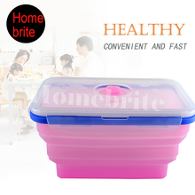 20*13 cm Mikrowelle Silikon Faltbare Bento Lunch Box Tragbare LunchBox BPA FREI Geschirr Set K184