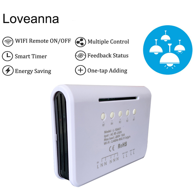 Loveanna 4CH 4 Gang Wifi Light Smart Switch, 4 Channels Electronic Switch App Control,Works With Alexa Google Home VS SONOFF 4CH
