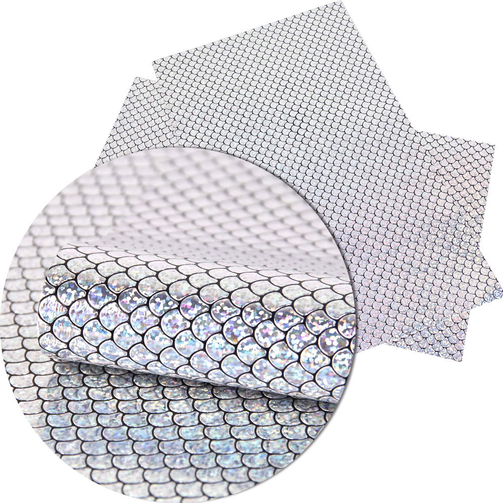 David accessories 20*34cm Fish scales Synthetic leather fabric for hair bow diy decoration crafts 1piece, DIY handmade,1Yc2817