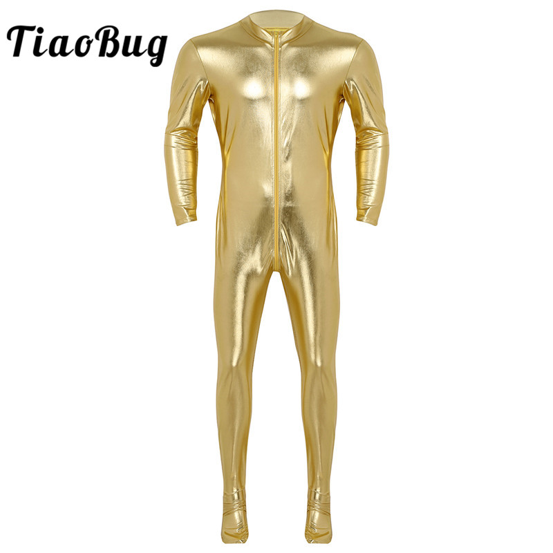 <font><b>TiaoBug</b></font> Men Long Sleeves Stretchy Full Body Jumpsuit Ballet Gymnastics Leotard Unitards Overall Stage Performance Dance Costumes image