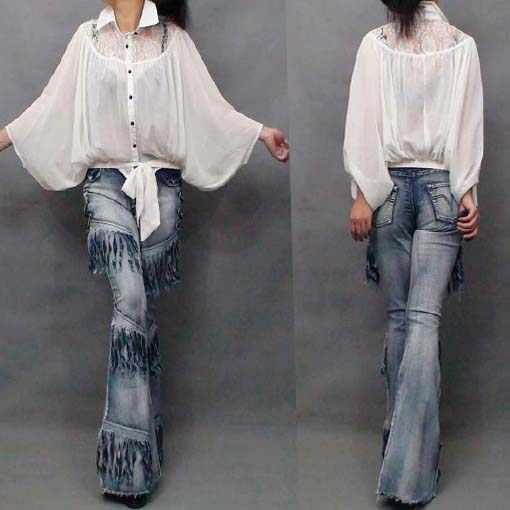 Women Cool Jeans Europe Style Heavy Wash Denim Pants Ladies New Fashion Tassels Slim Flare Trousers High Waist Jeans Outfits
