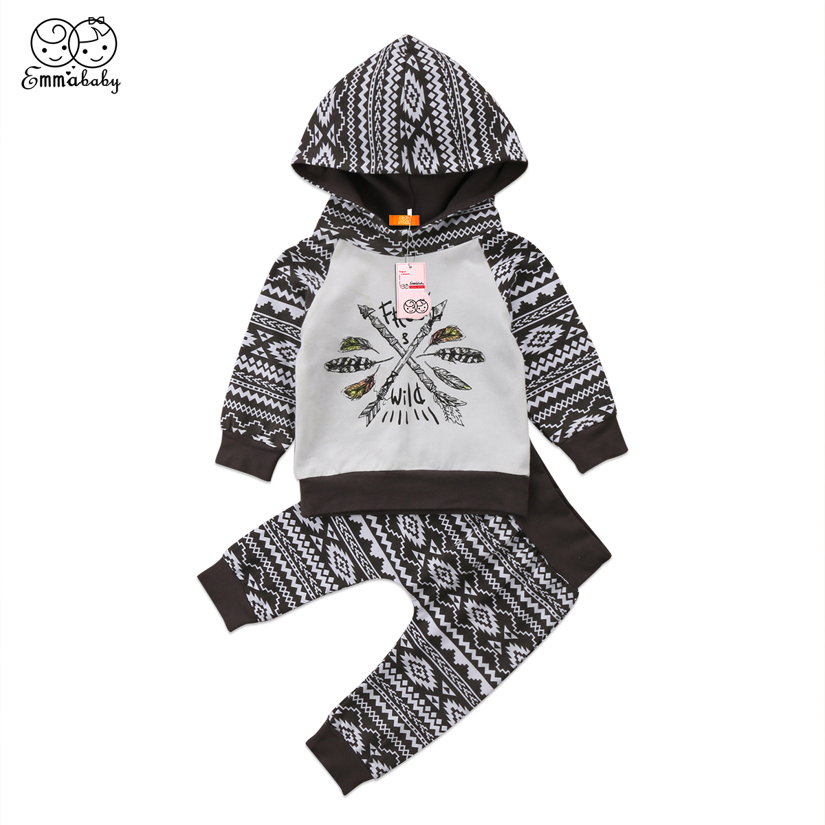 2018 new casual kid outfit set Newborn Cute Baby Boys long sleeve Cotton Hooded Shirt Tops+Pants print Outfits 2Pcs Set Clothes
