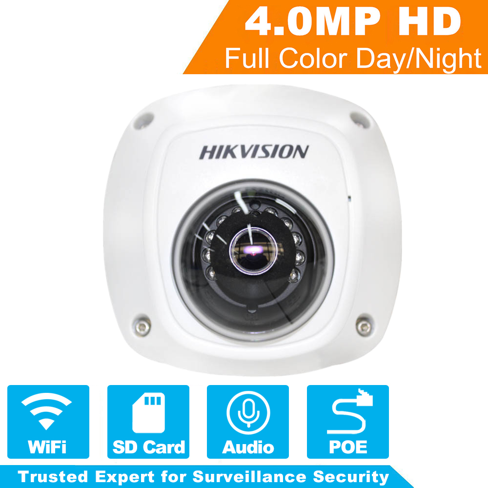 HiKVISION 1080P Wireless IP Camera WiFi DS-2CD2542FWD-IWS 4MP Mini Dome Security IP Camera Built-in SD Card Slot & Audio hikvision ds 2cd2442fwd iw wifi camera 4mp ir cube wireless ip camera poe ip camera baby monitor wireless security cam