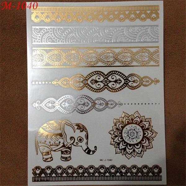 1pc Gold Sliver Flash Metallic Inspire Waterproof Tattoo Elephant Henna Bracelet Tatuagem Temporary Tattoo Sticker Paper