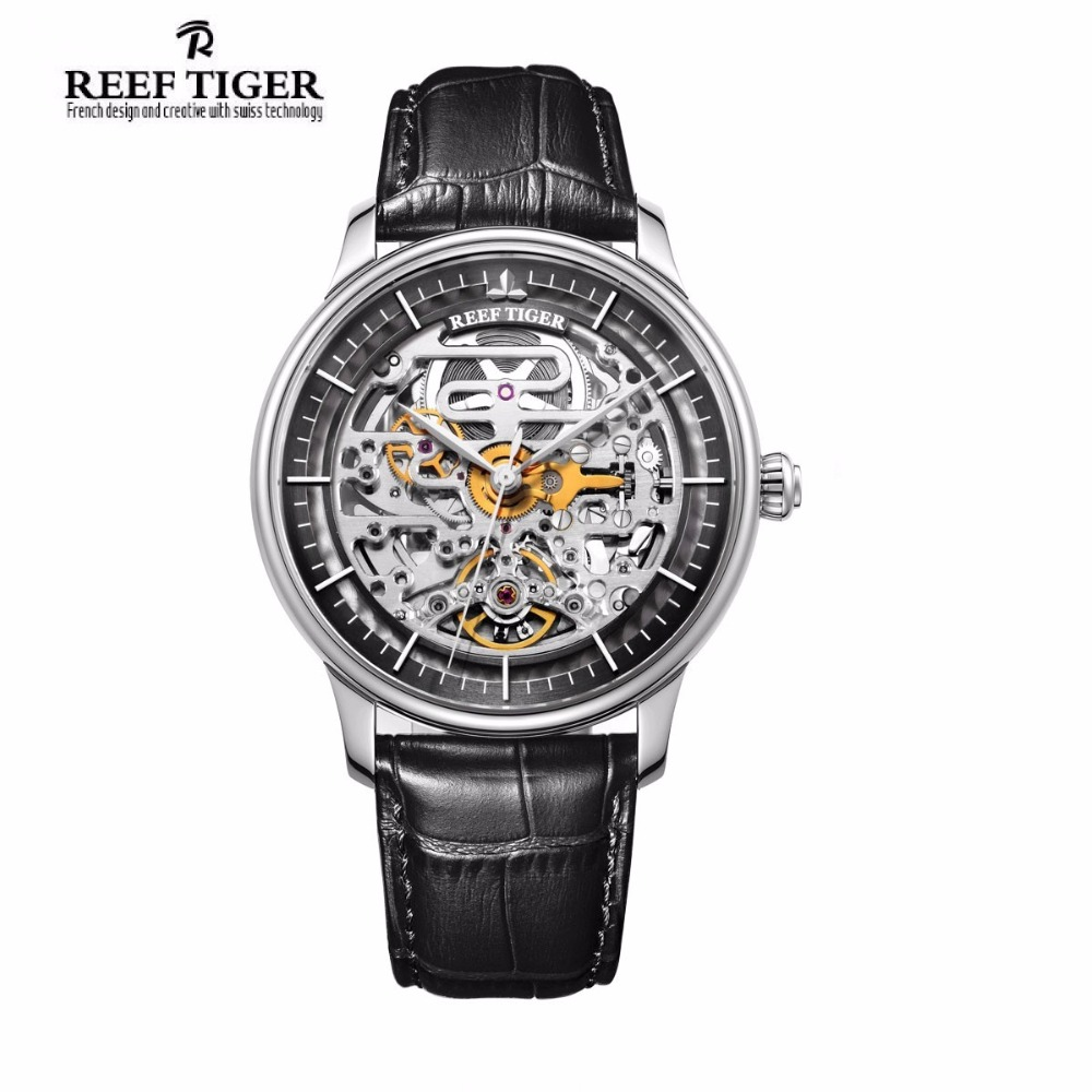 Reef Tiger Luxury Brand Designer Skeleton Mens Watch Reloj Hombre Steel Case Calfskin Leather Waterproof Automatic Wrist Watch wrist switzerland automatic mechanical men watch waterproof mens watches top brand luxury sapphire military reloj hombre b6036