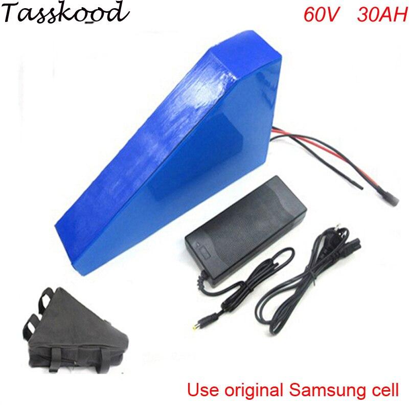 Livraison rapide triangle style au lithium batterie 60 v 30ah vélo électrique batterie 60 v 30ah batterie au lithium-ion avec L'utilisation Samsung Cellulaire