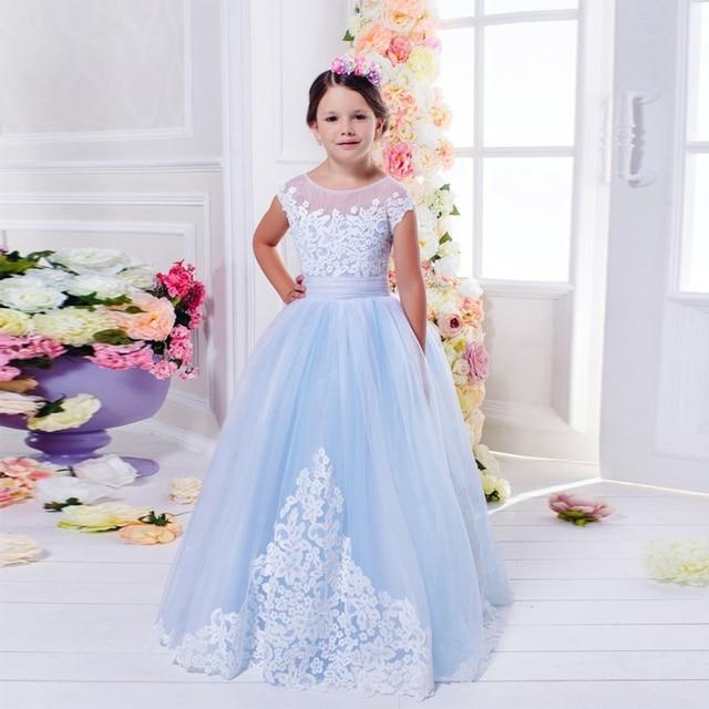 Light Dresses Damas Salient Junior Graduation: Pretty Light Blue Graduation Gown Children A Line Lace