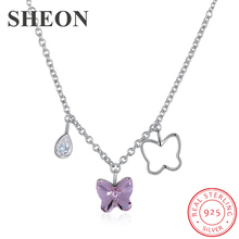 цена SHEON High Quality 925 Sterling Silver Trendy Crystal Butterfly Pendant Necklaces for Women Sterling Silver Jewelry Dropshipping в интернет-магазинах